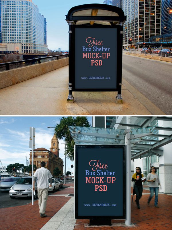 2 Free Bus Shelter Side Panel Outdoor Advertising Mock-up PSD