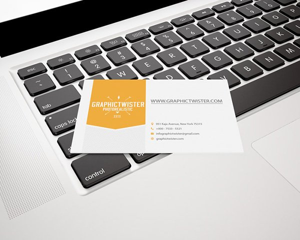 Fantastic Single Business Card Mockup on MacBook Pro