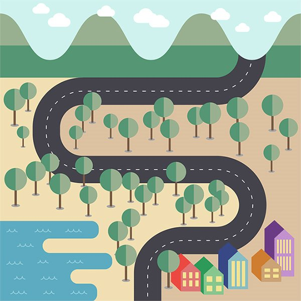 Create a Flat Style Vector Map in Adobe Illustrator