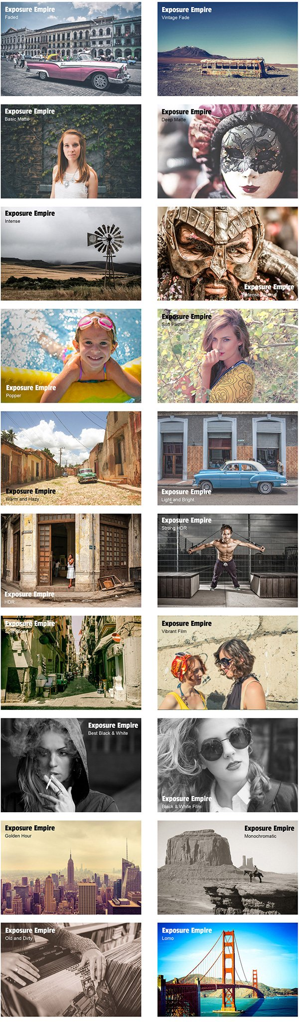 20 Free Lightroom Presets by Exposure Empire