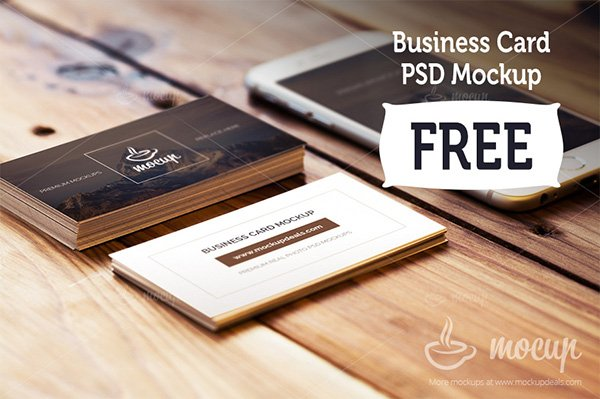 Free Business Card Mockup With Iphone