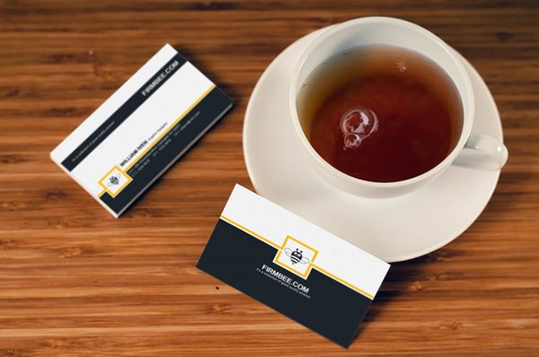 Business Card Mockup with Cup