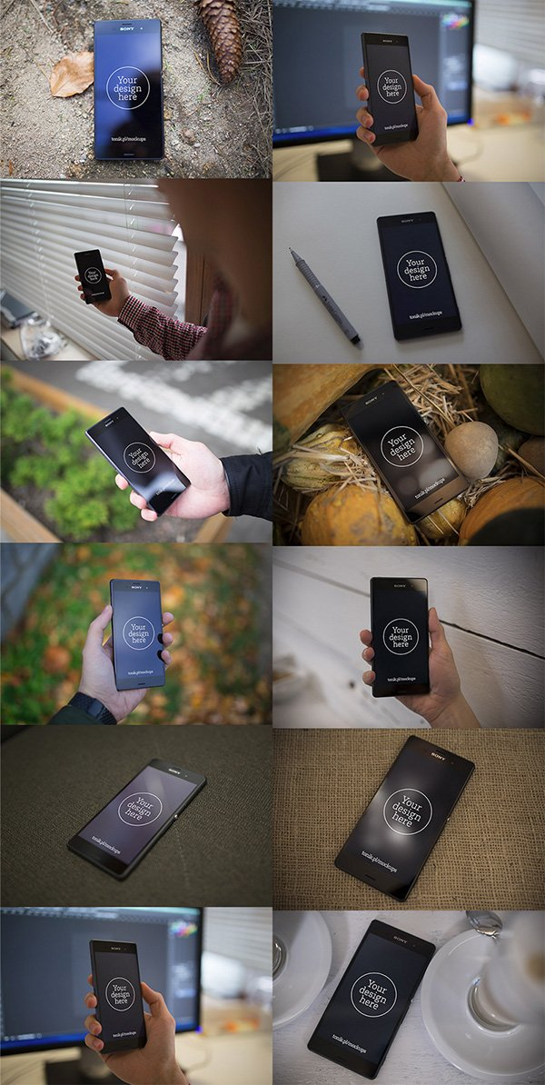 12 Free Xperia Z3 Mock-up Templates