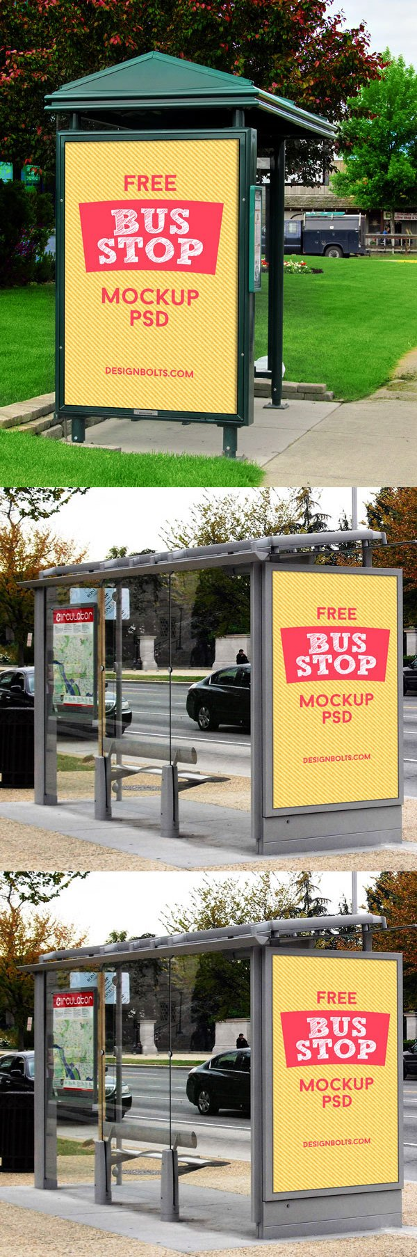 3 Free HQ Outdoor Advertising Bus Stop Mockup PSD