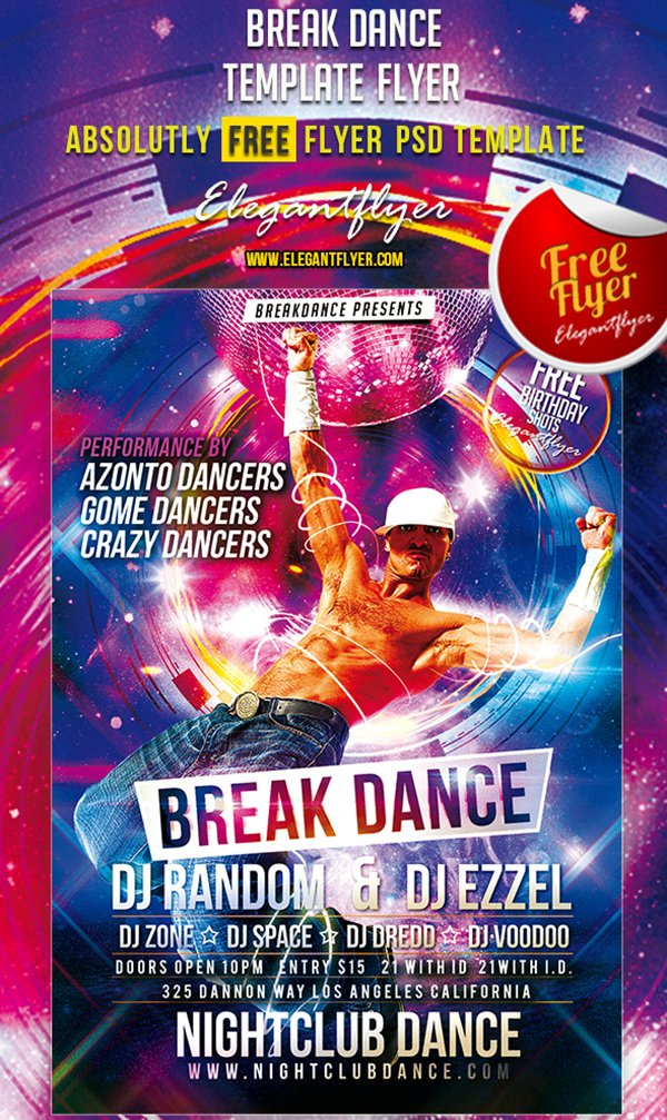 Break Dance – Free Club and Party Flyer PSD Template