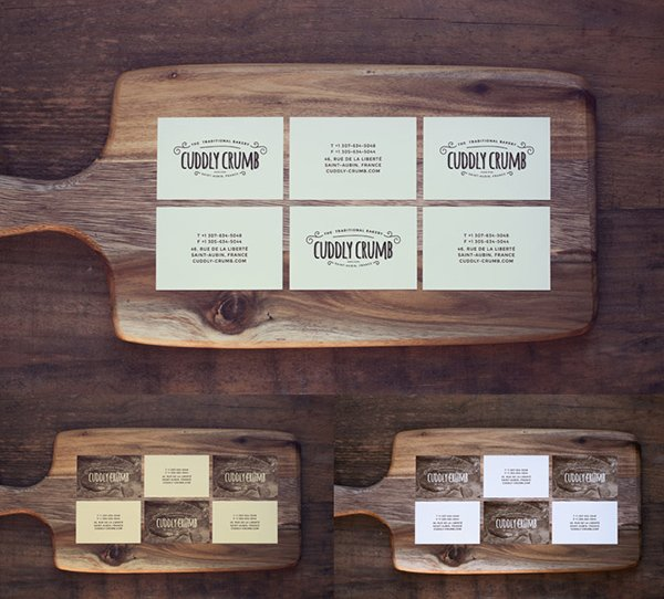 Business Card On A Wooden Cutting Board