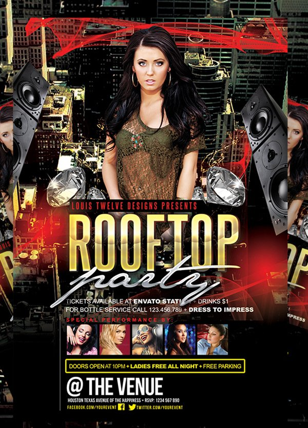 FREE Rooftop Party   Flyer + FB Cover