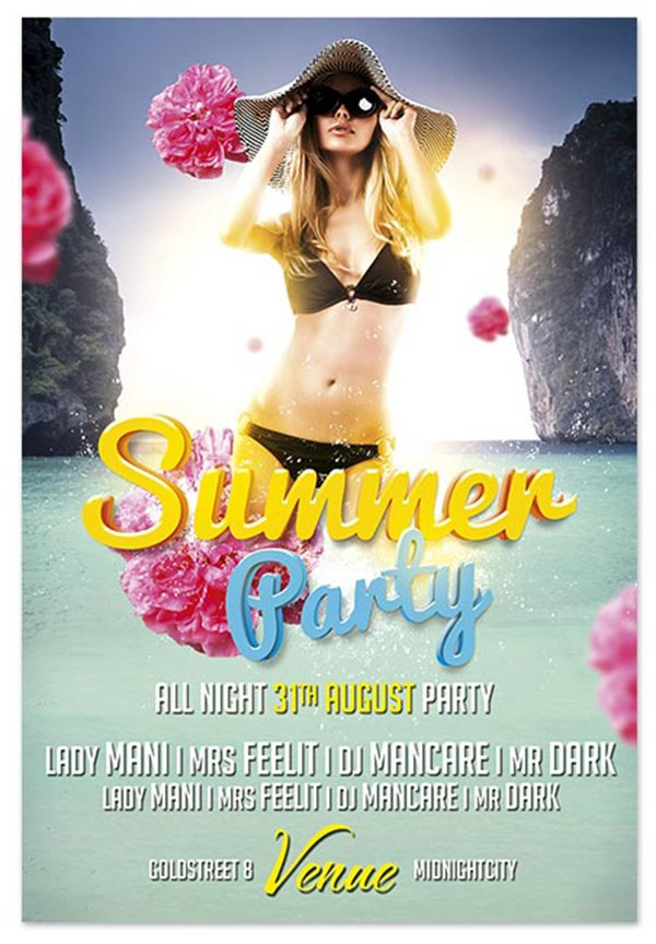 Free Flyer Template: Summer Party PSD Flyer Template