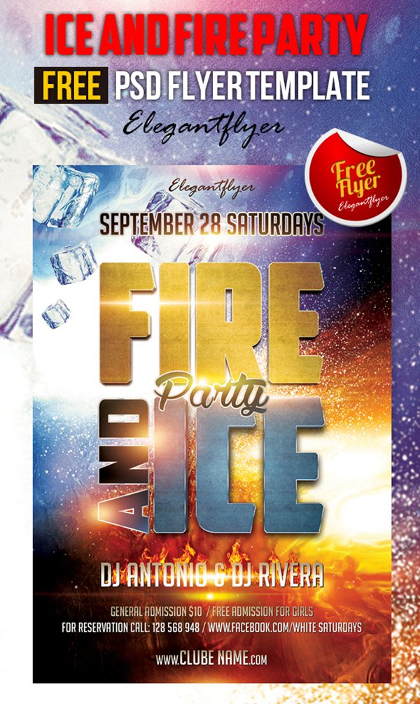 Ice and Fire Party – Free Club and Party Flyer PSD Template