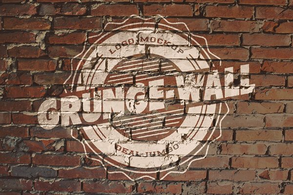 Logo Mockup – Old Paint on Brick Wall