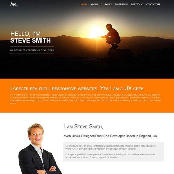 personal resume website template
