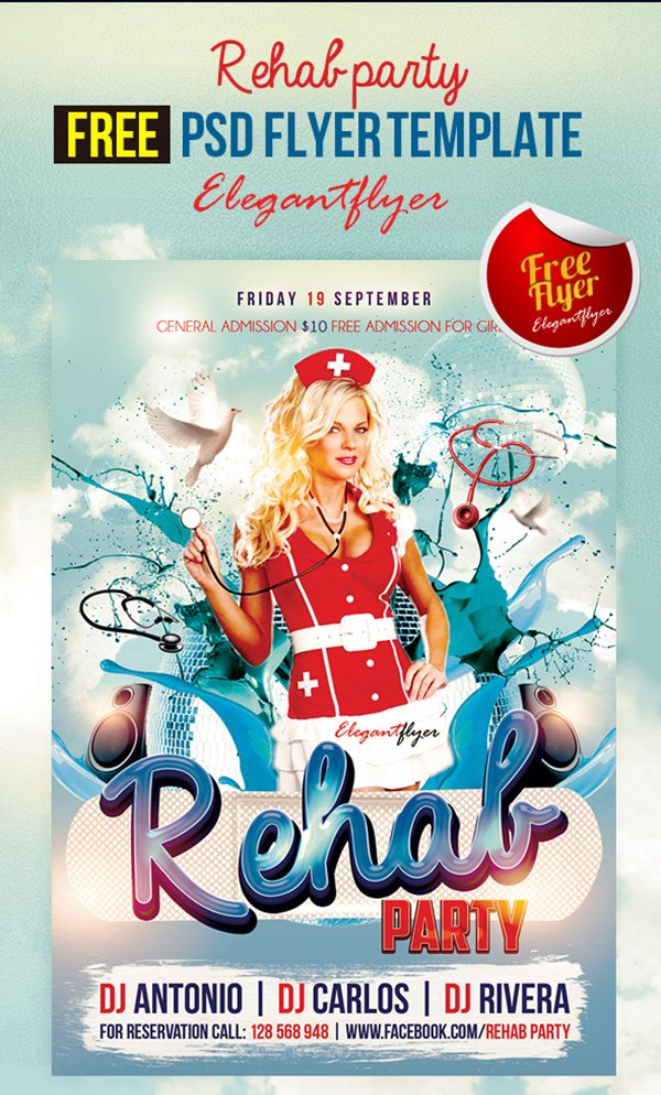 Rehab party – Free Club and Party Free Flyer PSD Template
