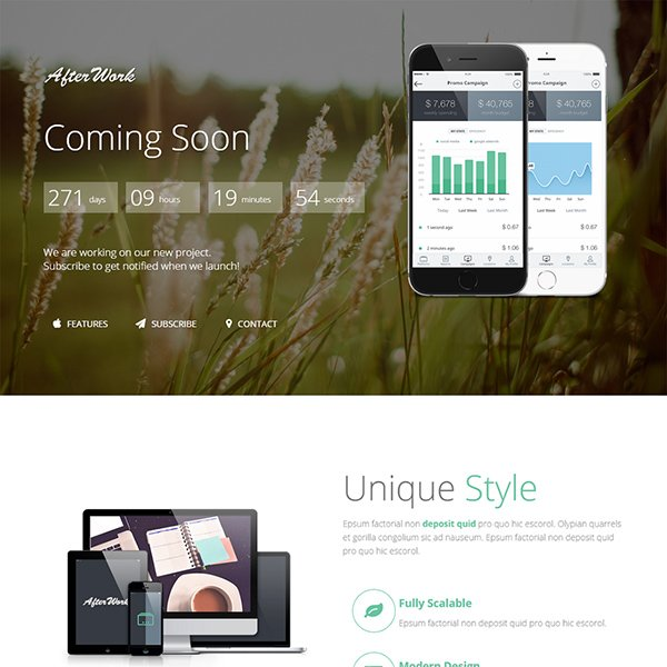 AfterWork – Responsive Coming Soon Template