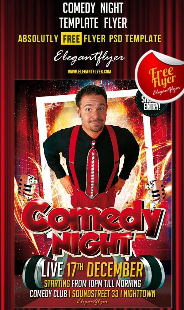 Comedy Night – Free Club and Party Flyer PSD Template