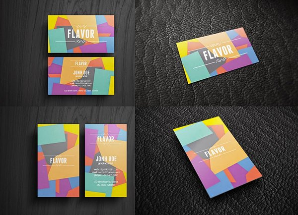Flavor Business Card Free Mock-up Template