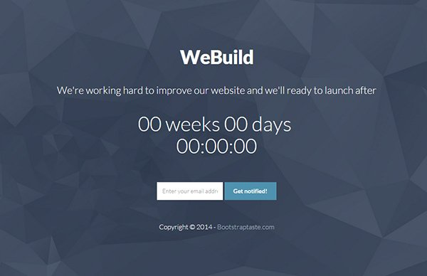WeBuild - Free Bootstrap Coming Soon Template