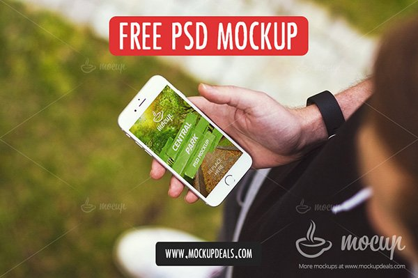 Free iPhone PSD Mockup in Central Park