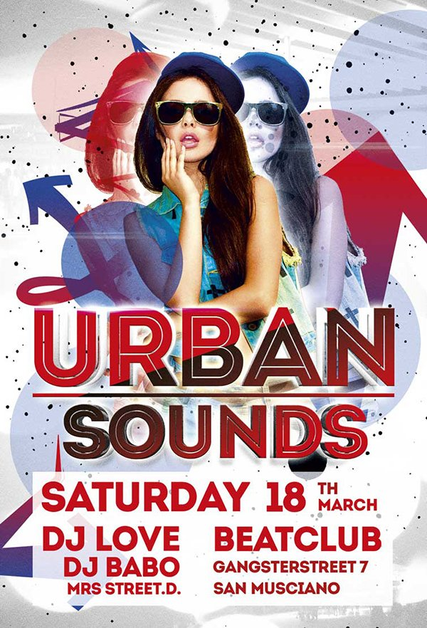 Free Urban Sounds Party Flyer Template