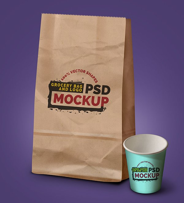 Grocery Bag, Coffee Cup & Logo PSD Mockup