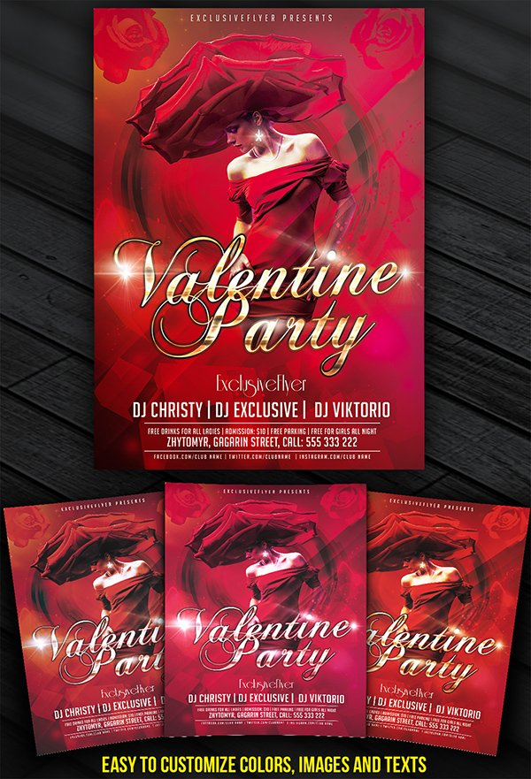 Valentine Party Vol.2 – Free Club and Party Flyer Template