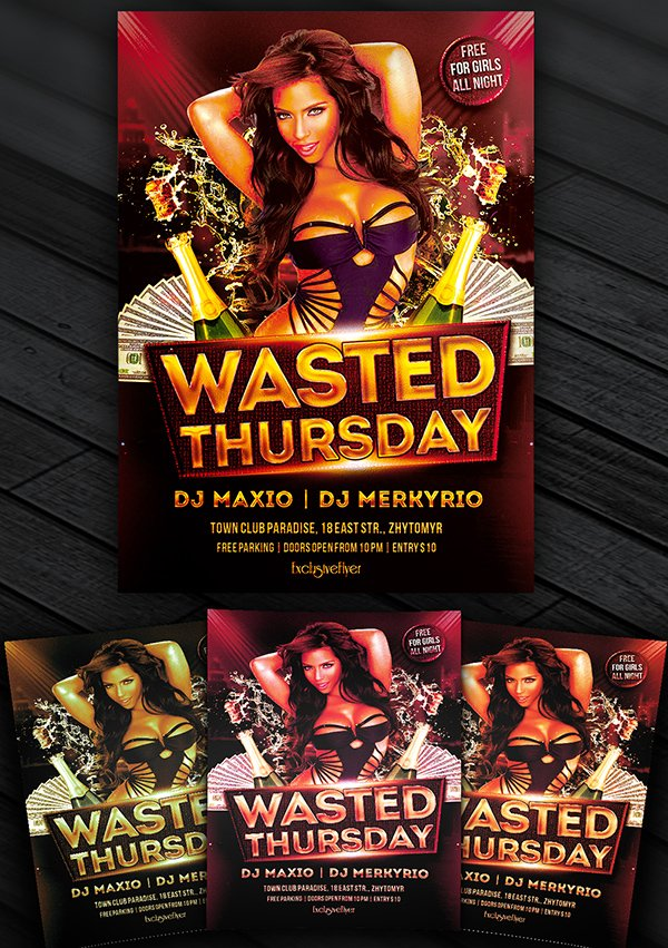 Wasted Thursdays – Free Flyer Template
