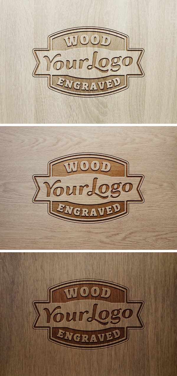 Wood Engraved Logo MockUp #2